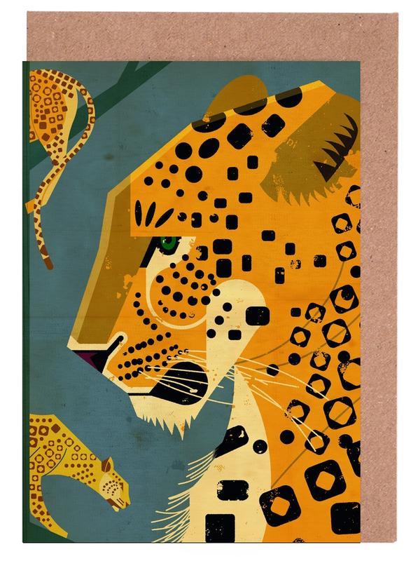 Leopard -Grußkarten-Set