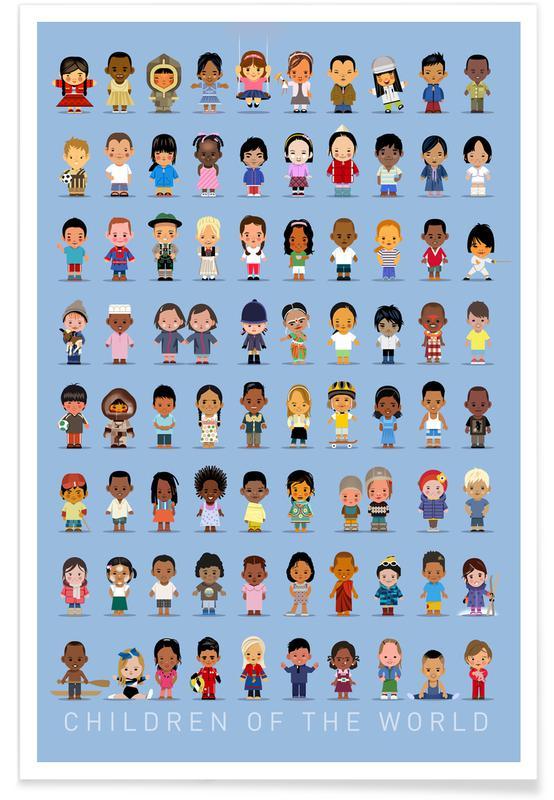 Børneværelse & kunst for børn, Vintage Children Of the World Plakat