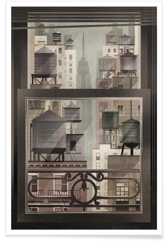 New York, Reizen, Vintage NYC watertorens poster