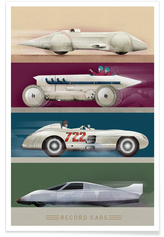 Nursery & Art for Kids, Cars, Vintage Record Cars Poster