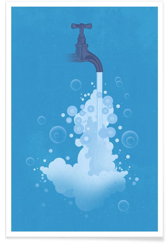 Vintage water voor de wereld poster