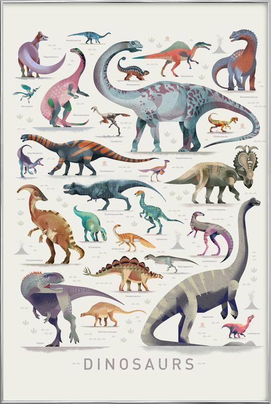 Dinosaurs -Poster im Alurahmen