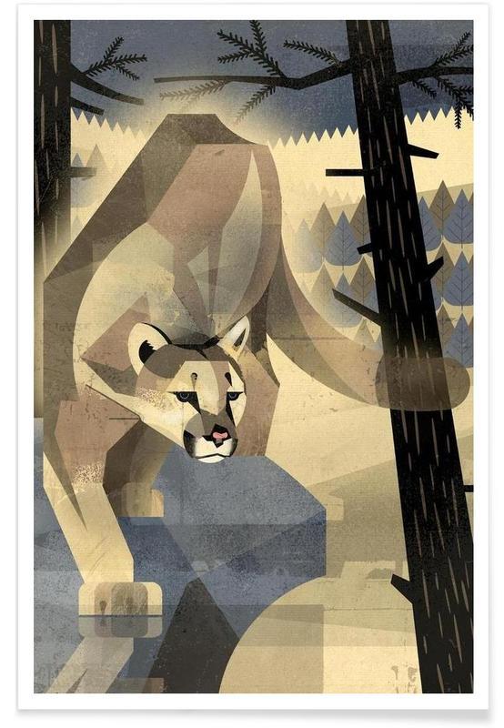 Rétro, Lions, Puma vintage affiche