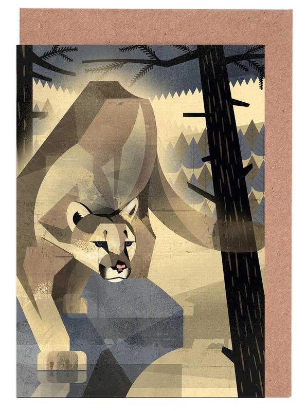Löwen, Retro, Mountain Lion -Grußkarten-Set