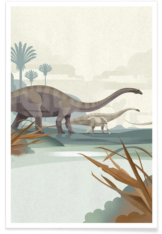Nursery & Art for Kids, Diplodocus Illustration Poster