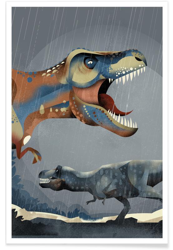 Art pour enfants, Tyrannosaurus Rex illustration affiche