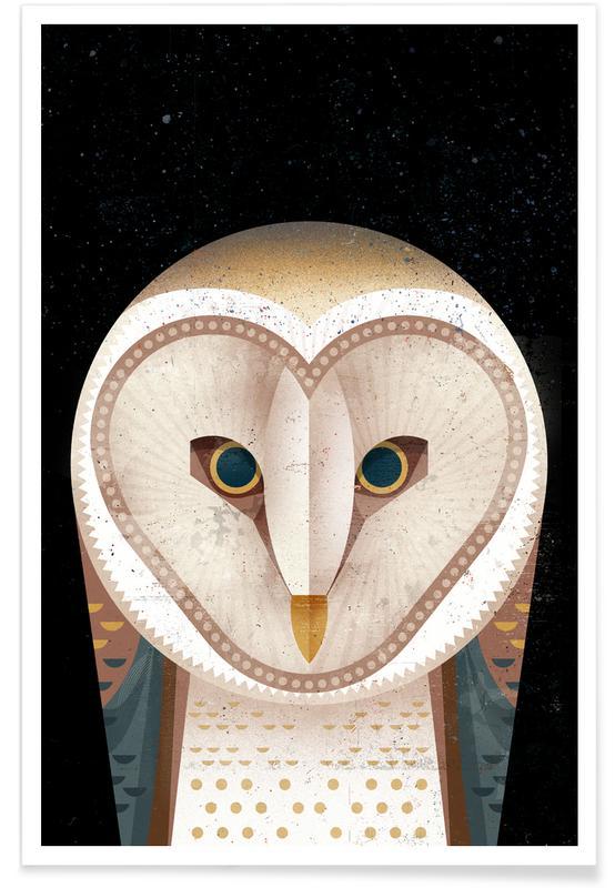 Chouettes, Art pour enfants, Barn Owl affiche
