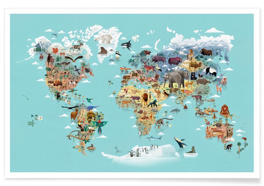 Cartes du monde, Worldmap Of Animals affiche