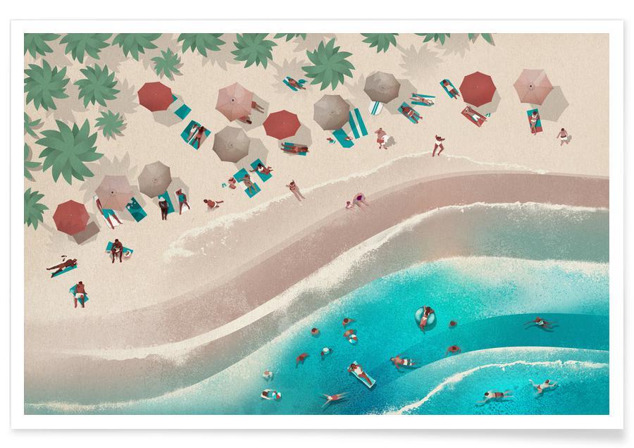 Art pour enfants, Océans, mers & lacs, The Beach affiche