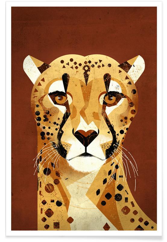 Kunst voor kinderen, Jachtluipaarden, Cheetah poster
