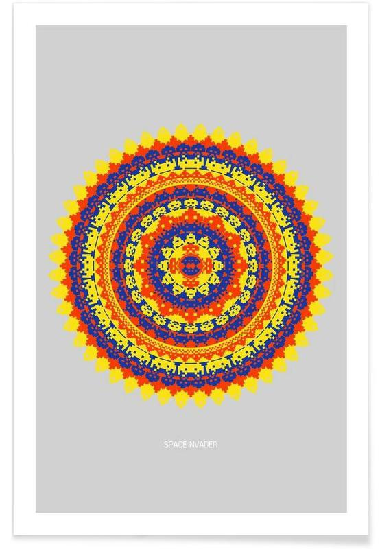 , Space Invader Mandala affiche