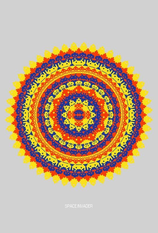 Space Invader Mandala Aluminium Print