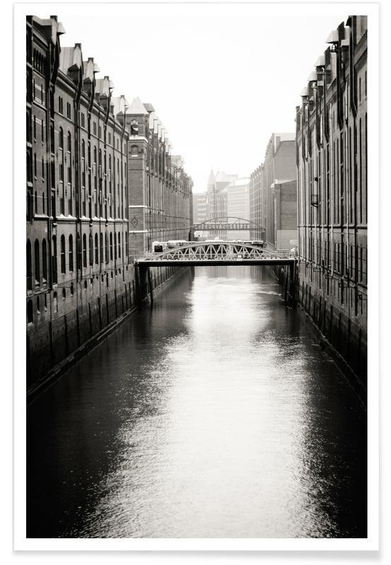 Noir & blanc, Hambourg, Warehouse District Hamburg II affiche