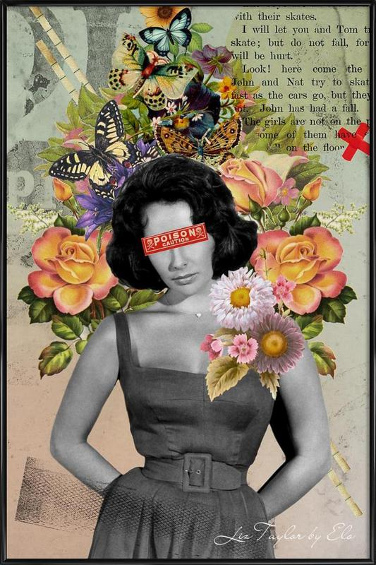 Public Figures: Liz Taylor -Bild mit Kunststoffrahmen
