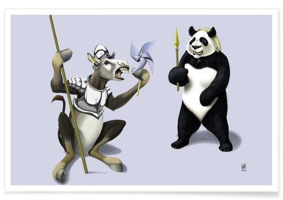 , Donkey Xote Sancho Panda (colored) poster