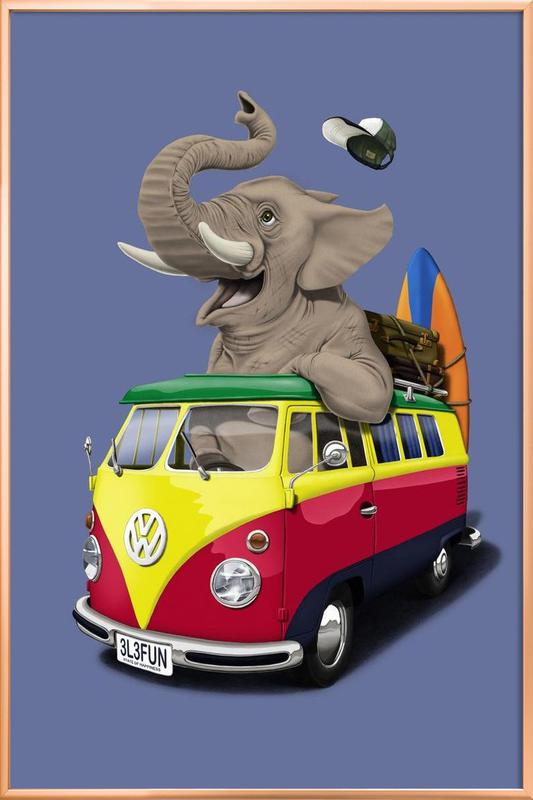 Pack the trunk (colored) Poster in Aluminium Frame