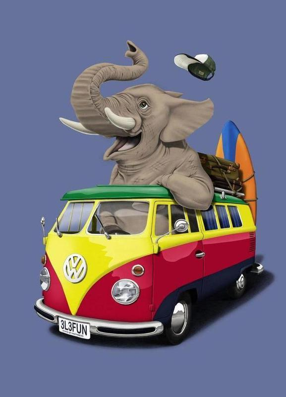 Pack the trunk (colored) -Leinwandbild