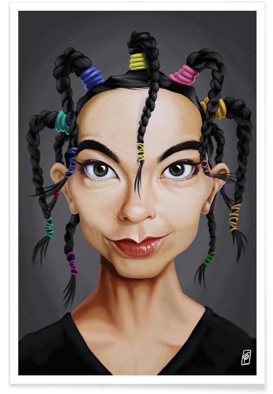 , Björk - Caricature affiche