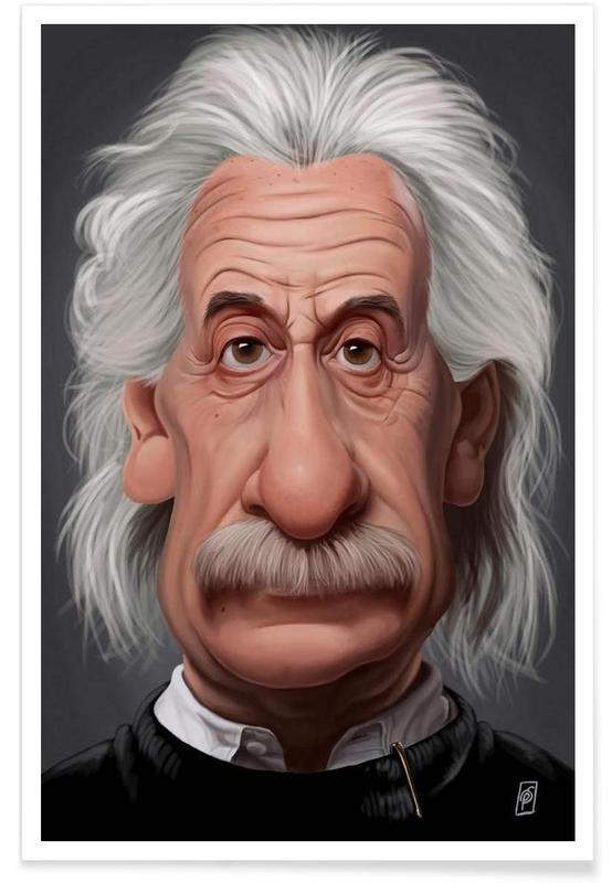 , Albert Einstein Caricature Poster