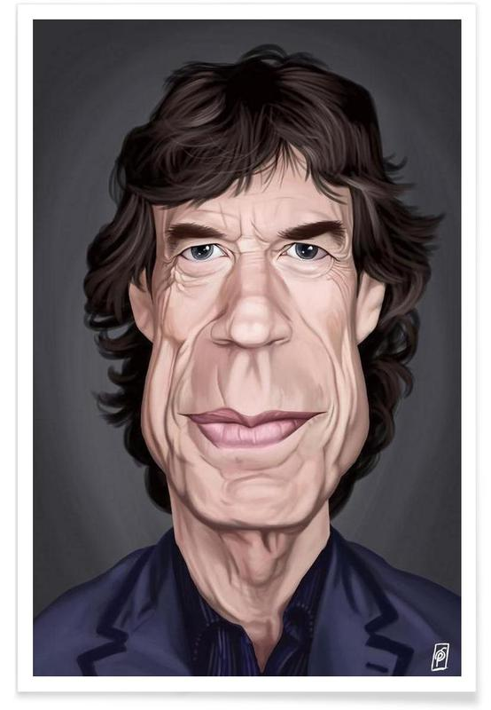 The Rolling Stones, Mick Jagger - Caricature affiche