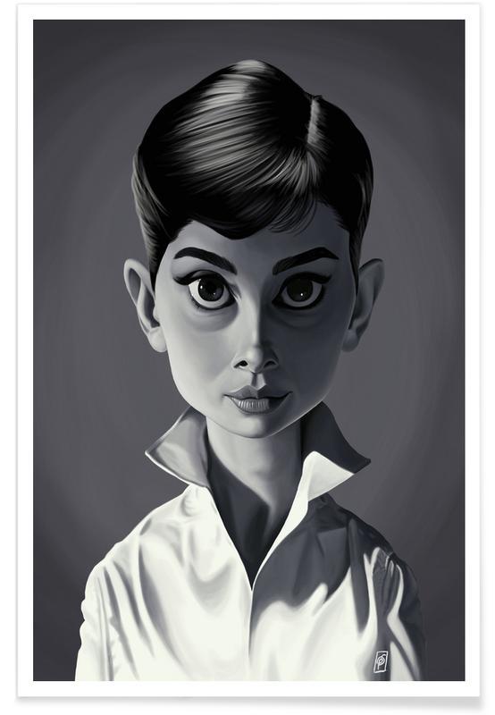 Zwart en wit, Audrey Hepburn, Audrey Hepburn - karikatuur poster