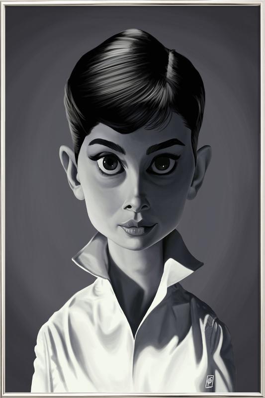 Audrey Hepburn Poster in Aluminium Frame