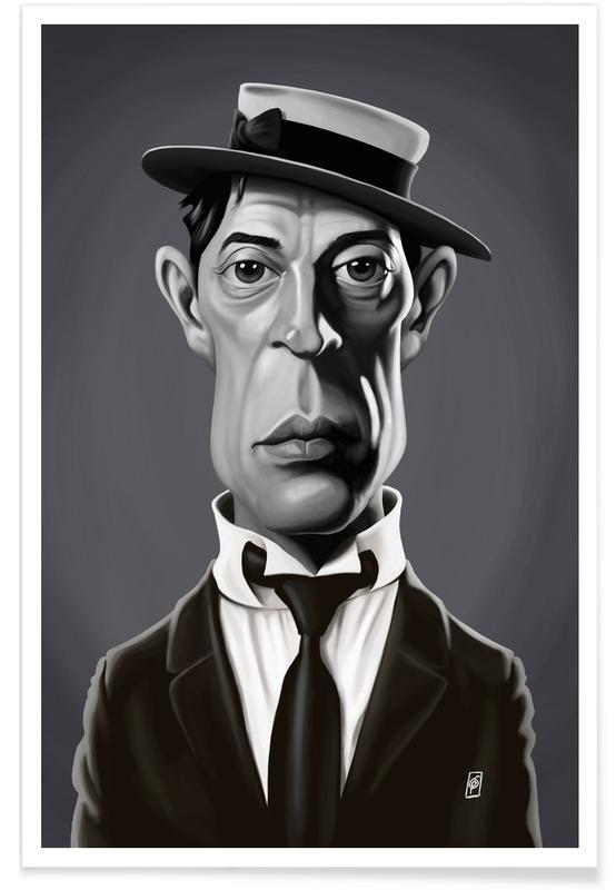 Schwarz & Weiß, Buster Keaton-Karikatur -Poster