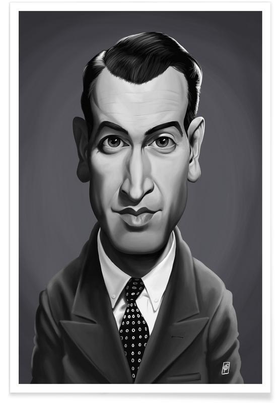 Schwarz & Weiß, James Stewart-Karikatur -Poster