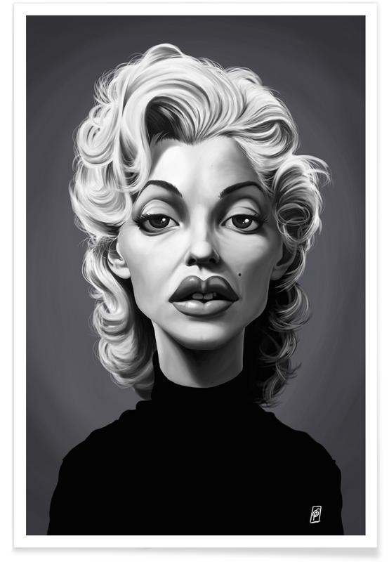 Marilyn Monroe, Schwarz & Weiß, Marylin Monroe-Karikatur -Poster