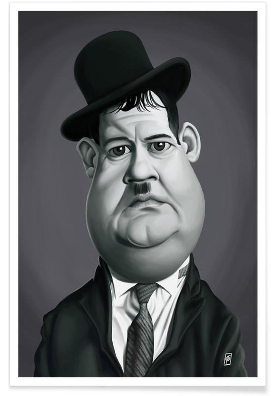 Black & White, Oliver Hardy Caricature Poster