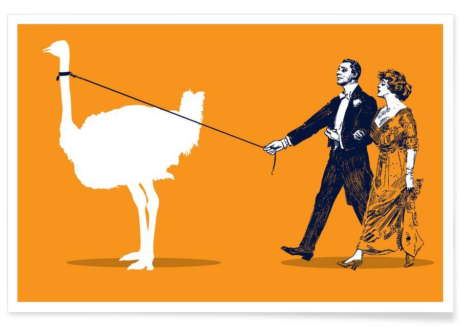 Lustig, Walking The Ostrich -Poster