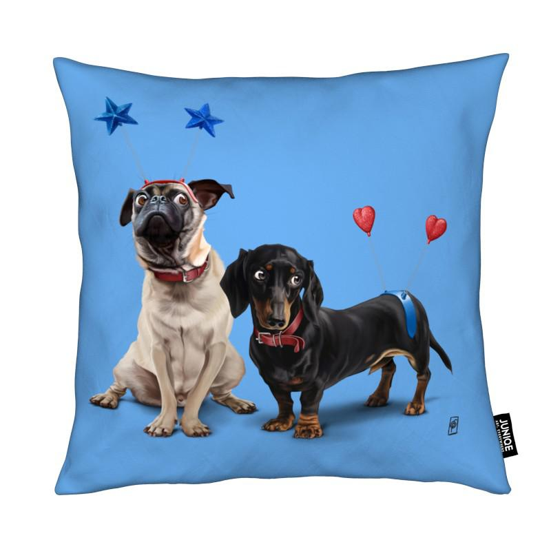 Chiens, What's the Deely? (Colour) coussin