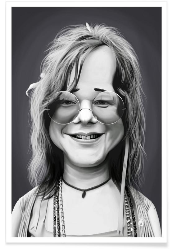 Noir & blanc, Janis Joplin - Caricature affiche