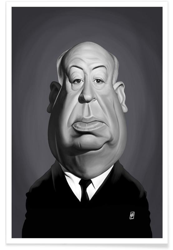 Schwarz & Weiß, Alfred Hitchcock-Karikatur -Poster