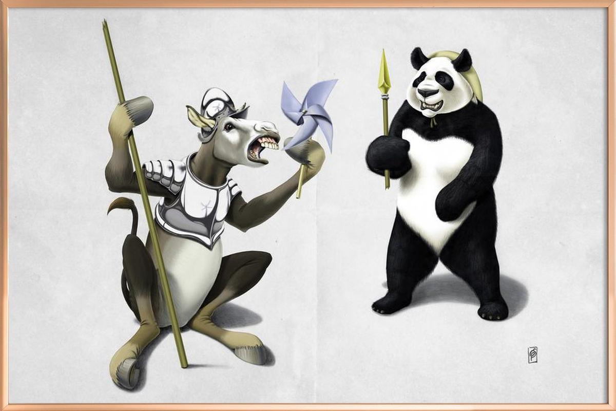 Donkey Xote and Sancho Panda Poster in Aluminium Frame