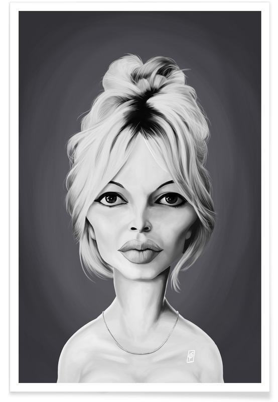 Schwarz & Weiß, Brigitte Bardot, Brigitte Bardot-Karikatur -Poster