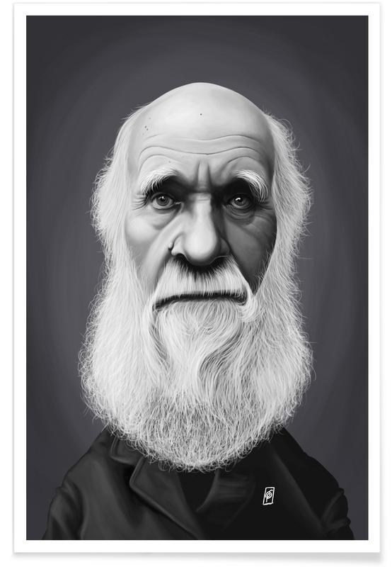 Zwart en wit, Charles Darwin - karikatuur poster