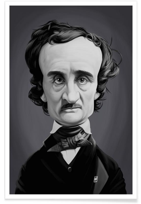 Black & White, Edgar Allan Poe Caricature Poster