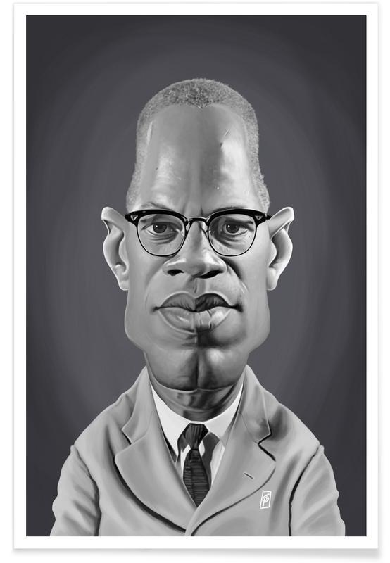 Personnages politiques, Noir & blanc, Burgers, Malcolm X - Caricature affiche