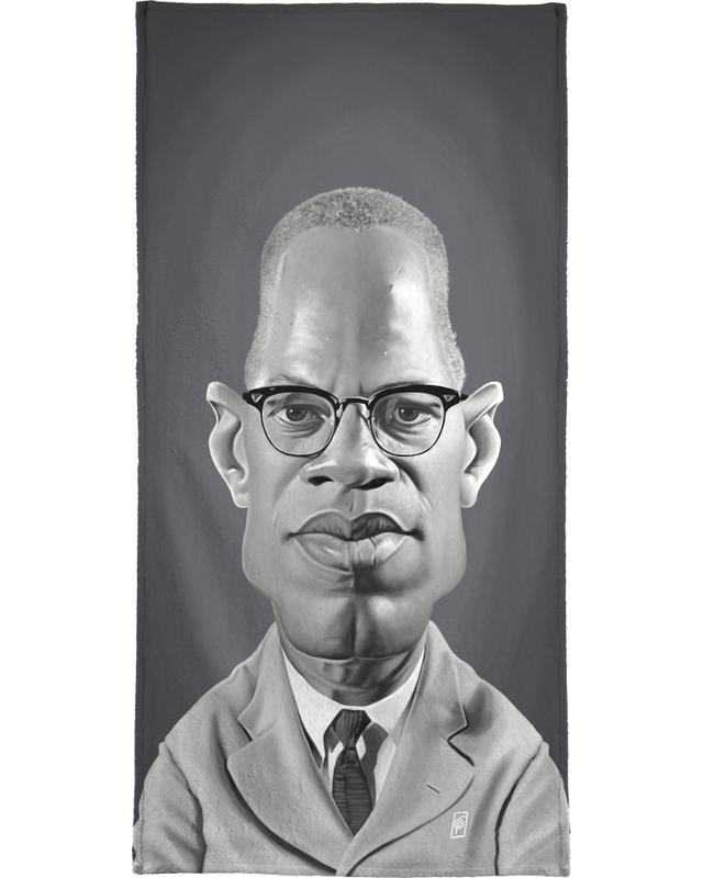 Personnages politiques, Noir & blanc, Burgers, Malcolm X serviette de bain