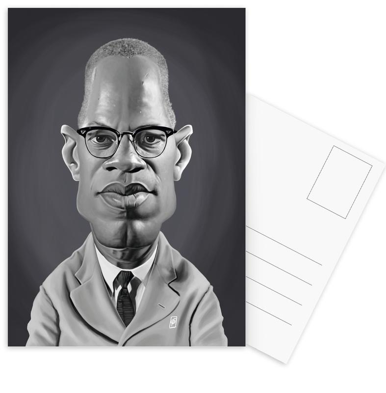 Zwart en wit, Politieke figuren, Burgers, Malcolm X ansichtkaartenset