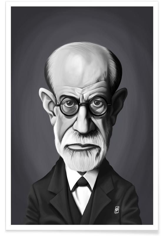 Black & White, Sigmund Freud Caricature Poster