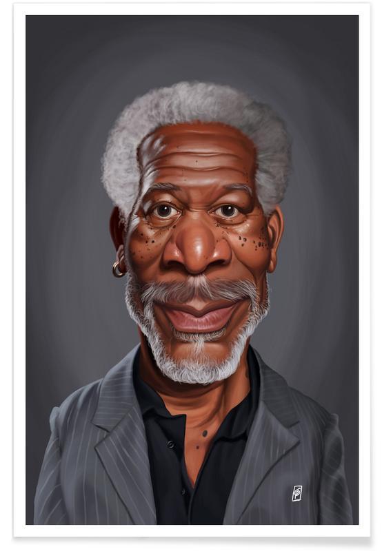 Morgan Freeman Caricature Poster Juniqe