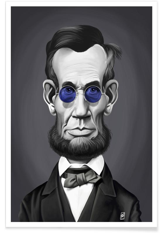 Political Figures, Black & White, Portraits, Abraham Lincoln Steam Caricature Poster