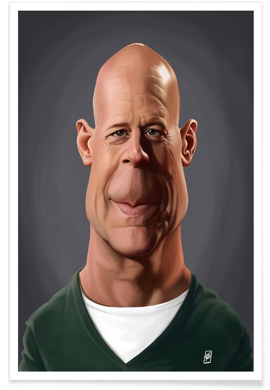Portraits, Bruce Willis Caricature Poster
