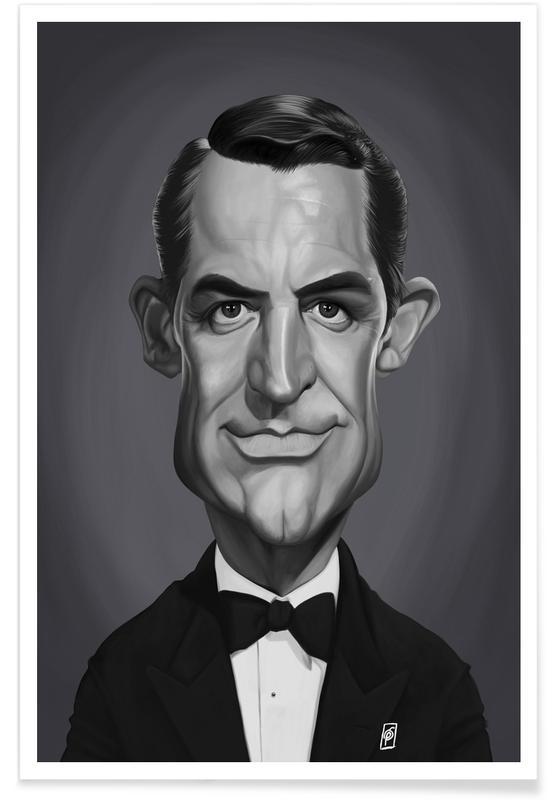 Schwarz & Weiß, Porträts, Cary Grant-Karikatur -Poster