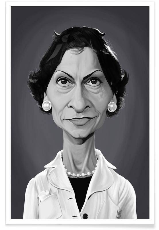 Coco Chanel Caricature Poster