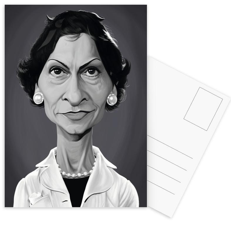 Zwart en wit, Portretten, Coco Chanel ansichtkaartenset
