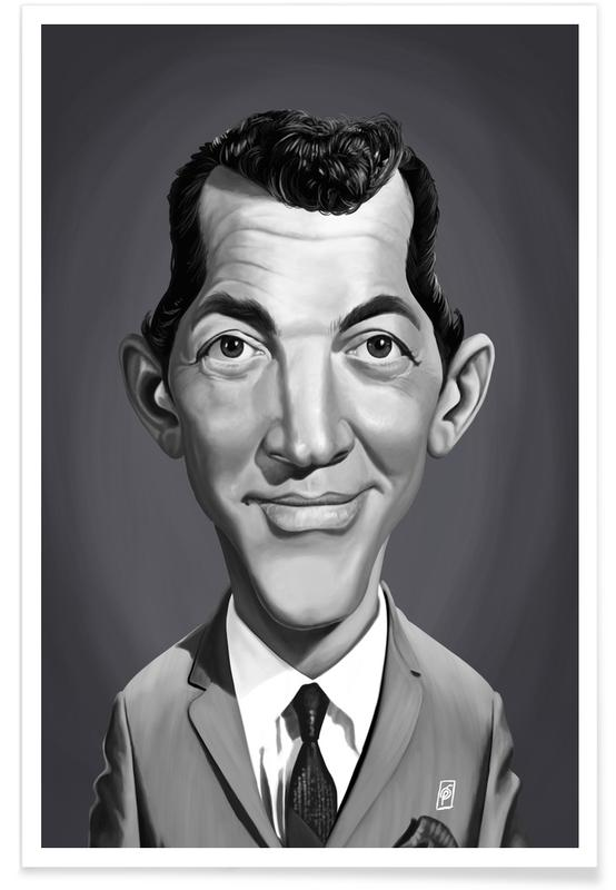 Black & White, Portraits, Dean Martin Caricature Poster