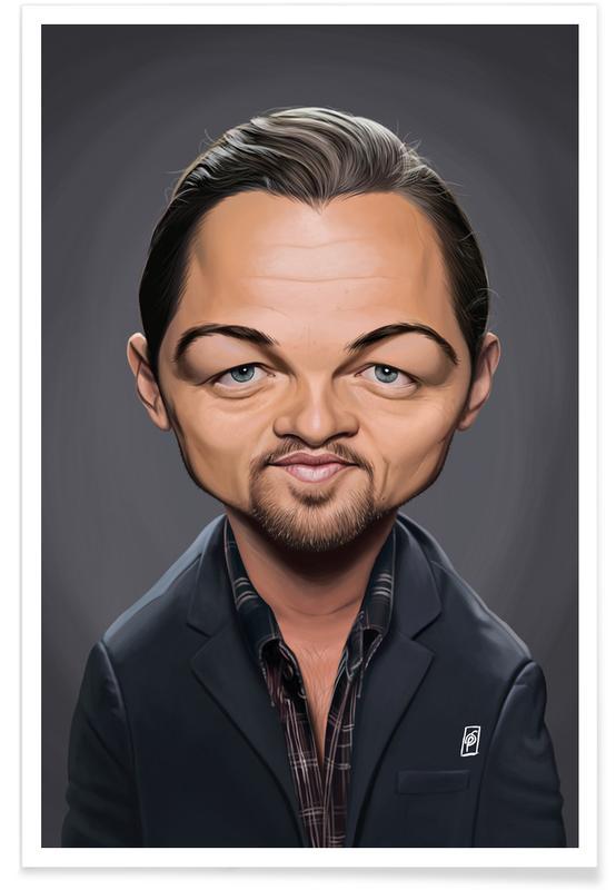 Portraits, Leonardo Di Caprio Caricature Poster